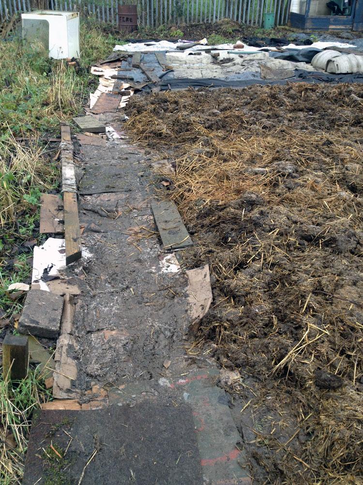 Cardboard laid down to create a path